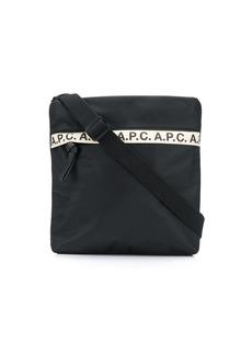 A.P.C. logo stripe messenger bag