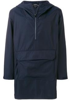 A.P.C. longline half zip hooded jacket