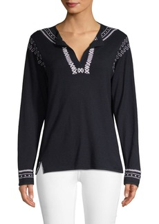 A.P.C. Medina Embroidered Silk Blouse
