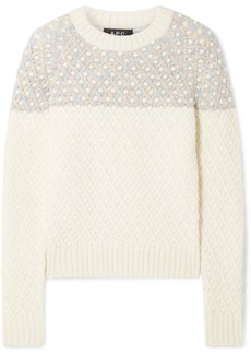A.P.C. Metallic-trimmed Cable-knit Sweater