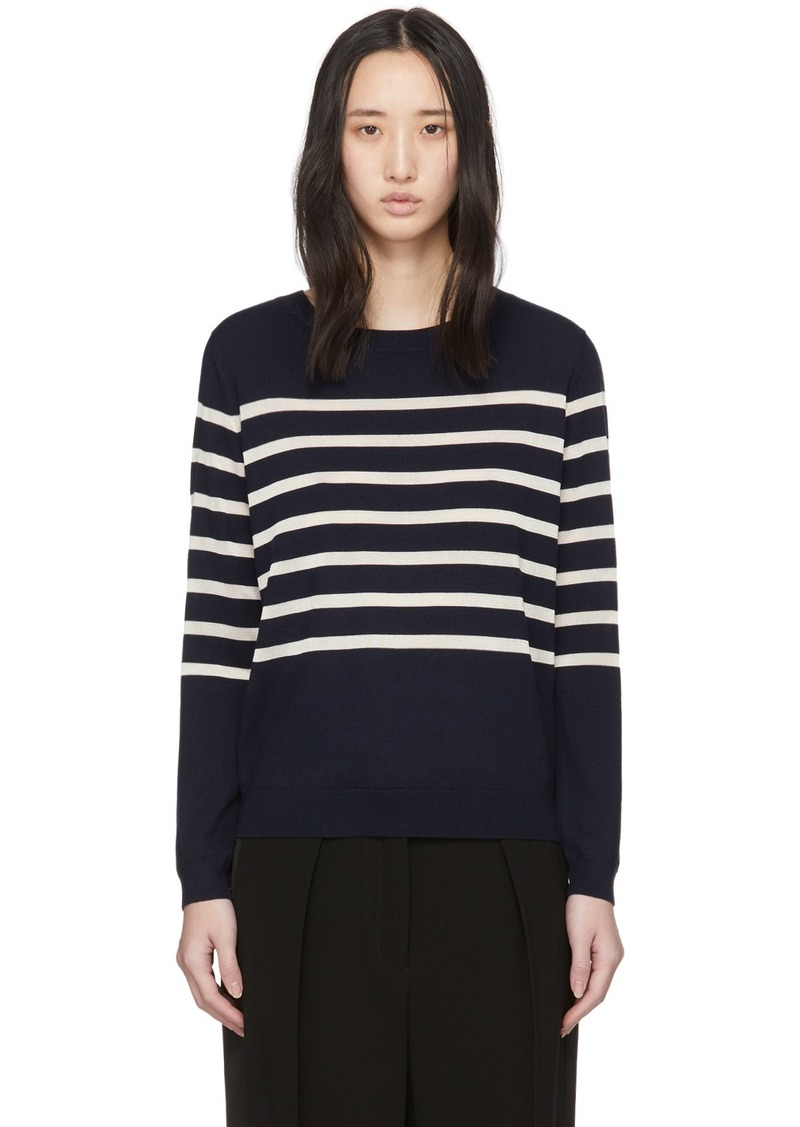 A.P.C. Navy Wool Striped Cordelia Sweater