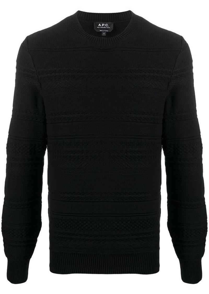 A.P.C. Nicolas stripe-textured jumper