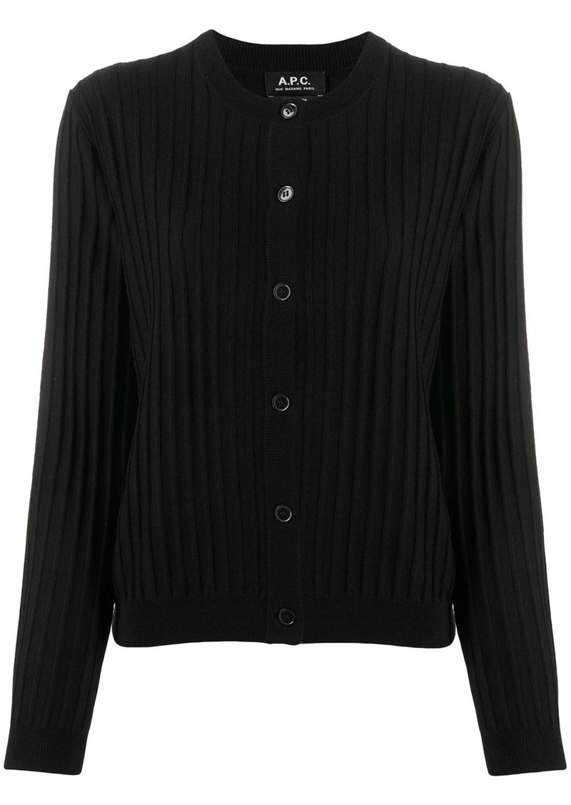 A.P.C. ribbed slim-fit cardigan