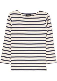 A.P.C. Striped Cotton-jersey Top