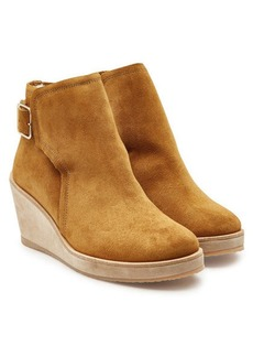 A.P.C. Virginie Suede Ankle Boots with Faux Fur