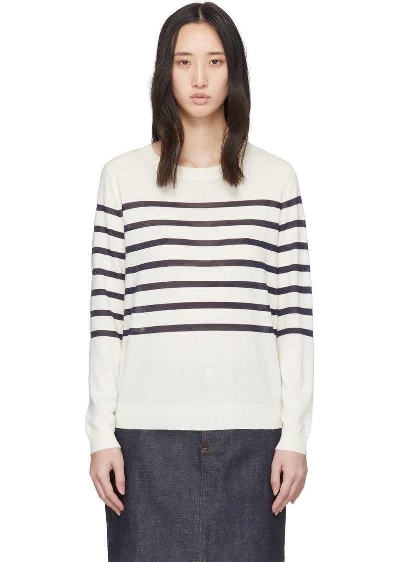 A.P.C. White Wool Striped Cordelia Sweater