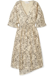 Apiece Apart Anichka Wrap-effect Floral-print Cotton And Silk-blend Voile Midi Dress