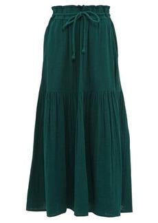 APIECE APART Gailicia shirred-waist cotton-muslin midi skirt