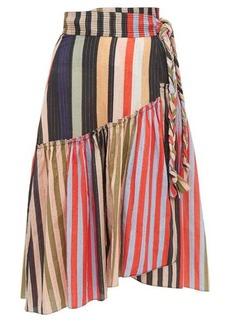 APIECE APART Iberia striped cotton-blend wrap skirt