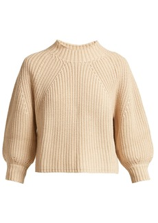 APIECE APART Merle cropped puff-sleeve cotton-blend sweater