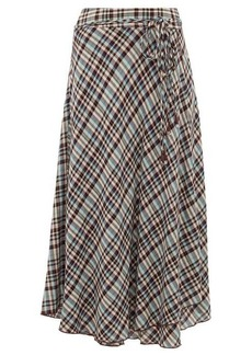 APIECE APART Rosehip checked rayon midi skirt