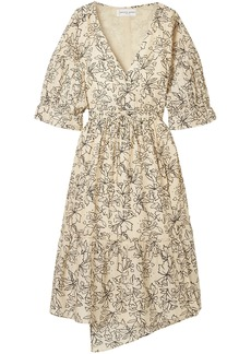 Apiece Apart Woman Anichka Wrap-effect Floral-print Cotton And Silk-blend Midi Dress Cream