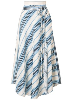 Apiece Apart Woman Rosehip Wrap-effect Striped Linen And Silk-blend Midi Skirt Light Blue