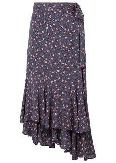 Apiece Apart Woman Rosita Floral-print Voile Wrap Skirt Indigo
