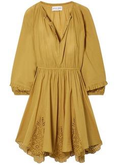 Apiece Apart Woman Vereda Broderie Anglaise-trimmed Gathered Cotton Mini Dress Mustard