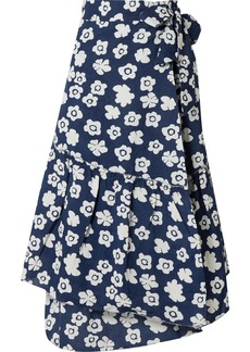 Apiece Apart Iberia Floral-print Cotton And Linen-blend Wrap Skirt