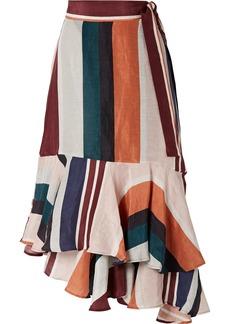 Apiece Apart Rosita Striped Linen And Silk-blend Wrap Skirt