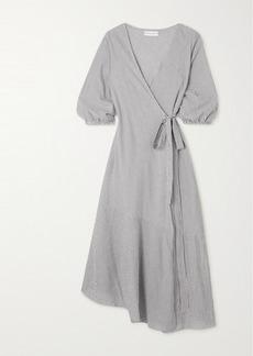 Apiece Apart Sierra Striped Organic Cotton Wrap Dress