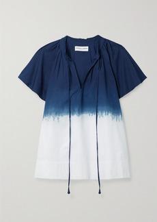Apiece Apart Vera Gathered Tie-dyed Organic Cotton-poplin Top