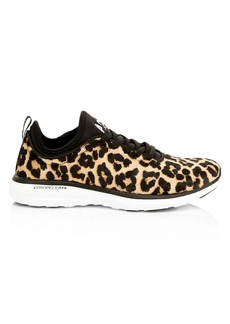 APL Athletic Propulsion Labs Women's TechLoom Pro Leopard-Print Calf Hair Sneakers