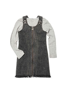 Appaman Mina Denim Zip-Up Dress w/ Striped Long-Sleeve Top  Size 2-14