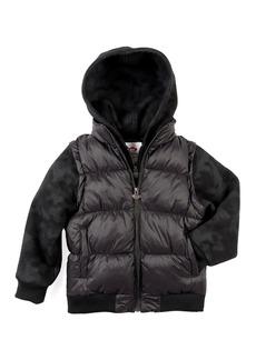 Appaman Turnstile Hooded Quilted Jacket w/ Zip-Off Sleeves