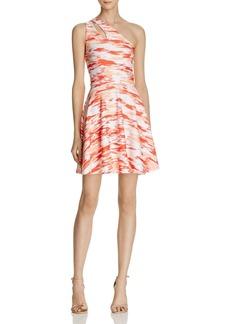 AQUA Abstract Print One Shoulder Dress - 100% Exclusive