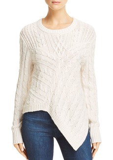 AQUA Asymmetric Cable Knit Sweater - 100% Exclusive