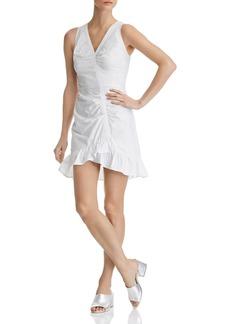 AQUA Asymmetric Ruched Poplin Dress - 100% Exclusive
