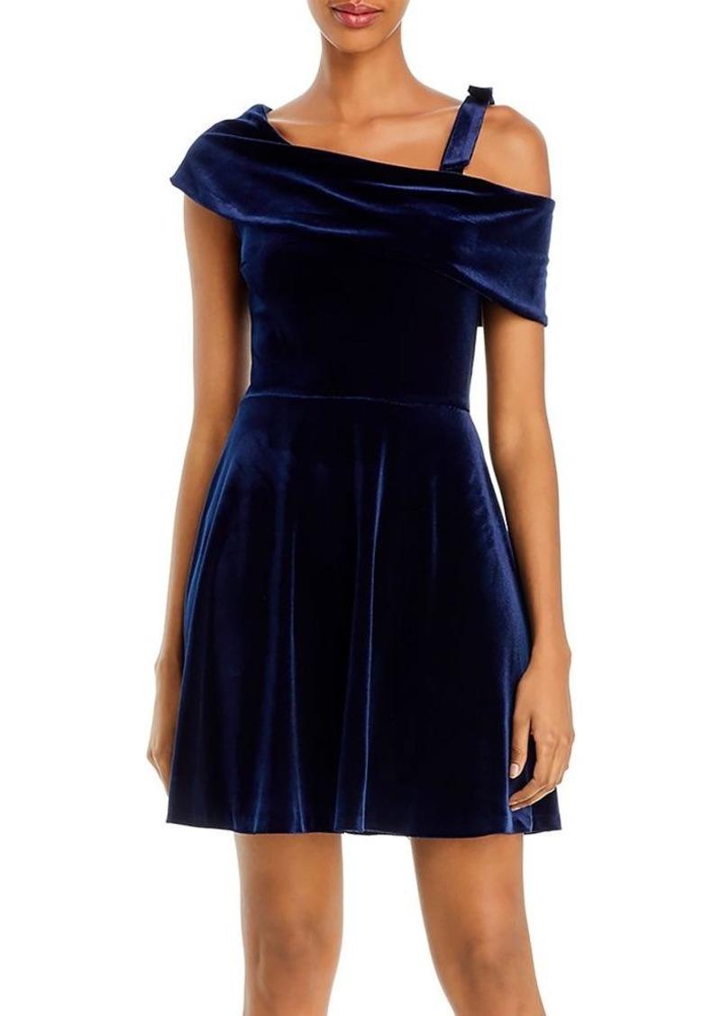AQUA Asymmetric Velvet Fit-and-Flare Dress - 100% Exclusive