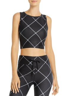 AQUA Athletic Windowpane Cropped Top - 100% Exclusive