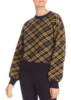 AQUA Balloon-Sleeve Plaid Sweater - 100% Exclusive