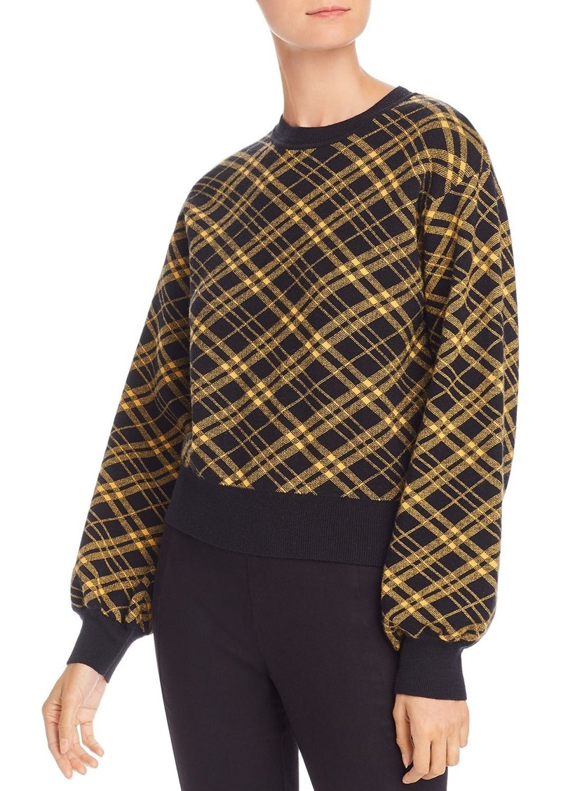 AQUA Balloon-Sleeve Plaid Sweater - 100% Exclusive