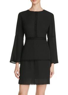 AQUA Bell Sleeve Crochet Trim Dress