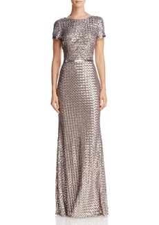 AQUA Belted Sequin Gown - 100% Exclusive