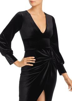 AQUA Bishop-Sleeve Velvet Cropped Top - 100% Exclusive