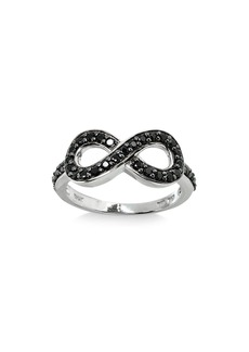 AQUA Black Spinel Infinity Ring in Sterling Silver - 100% Exclusive