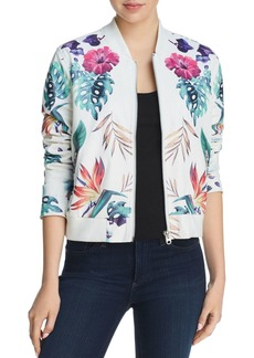 AQUA Botanical Faux Leather Bomber Jacket - 100% Exclusive