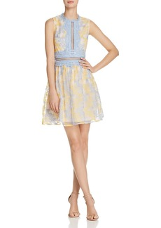 AQUA Branch Embroidered Fit-and-Flare Dress - 100% Exclusive