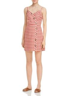 AQUA Button Detail Plaid Dress - 100% Exclusive