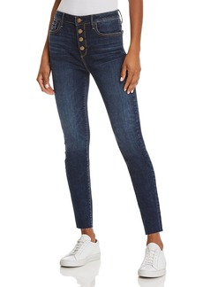 AQUA Button Fly Skinny Jeans in Dark Wash - 100% Exclusive