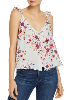 AQUA Button-Front Floral Camisole - 100% Exclusive
