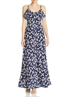 AQUA Button-Front Floral Maxi Dress - 100% Exclusive