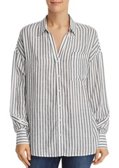 AQUA Button-Sleeve Striped Shirt - 100% Exclusive