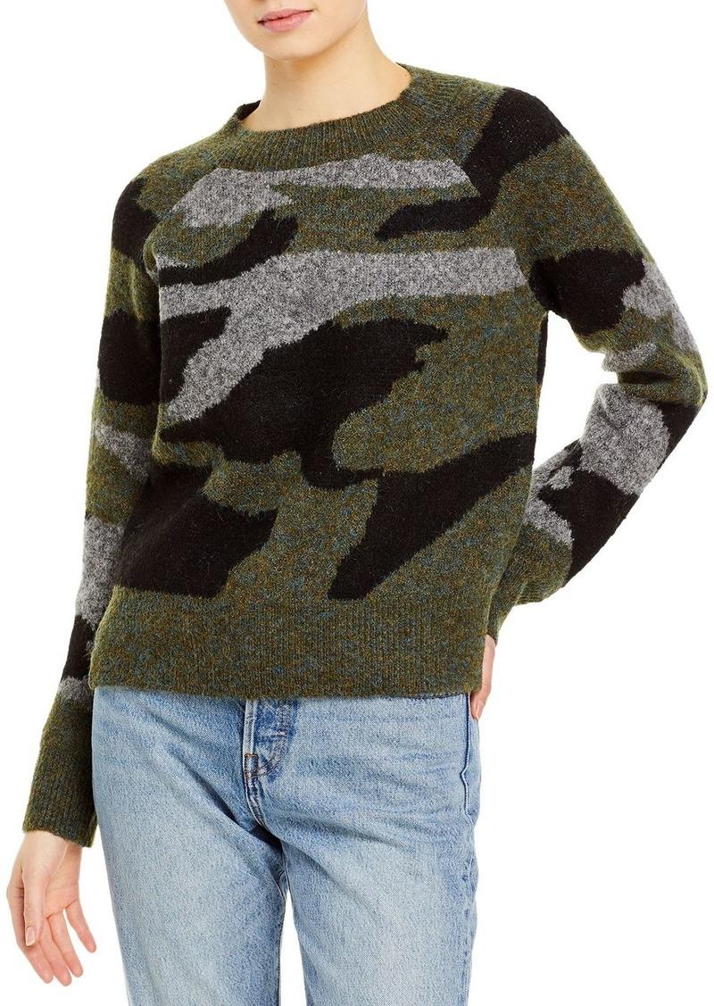 AQUA Camo Print Knit Sweater