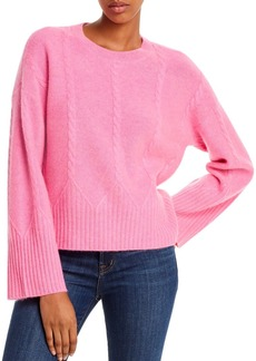 AQUA Cashmere Cable Detail Cashmere Sweater - 100% Exclusive