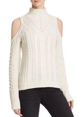 AQUA Cashmere Cable Knit Cold Shoulder Cashmere Sweater - 100% Exclusive