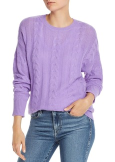 AQUA Cashmere Cable-Knit Crewneck Cashmere Sweater - 100% Exclusive