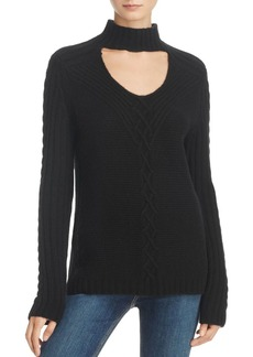 AQUA Cashmere Cable-Knit Cutout Sweater - 100% Exclusive