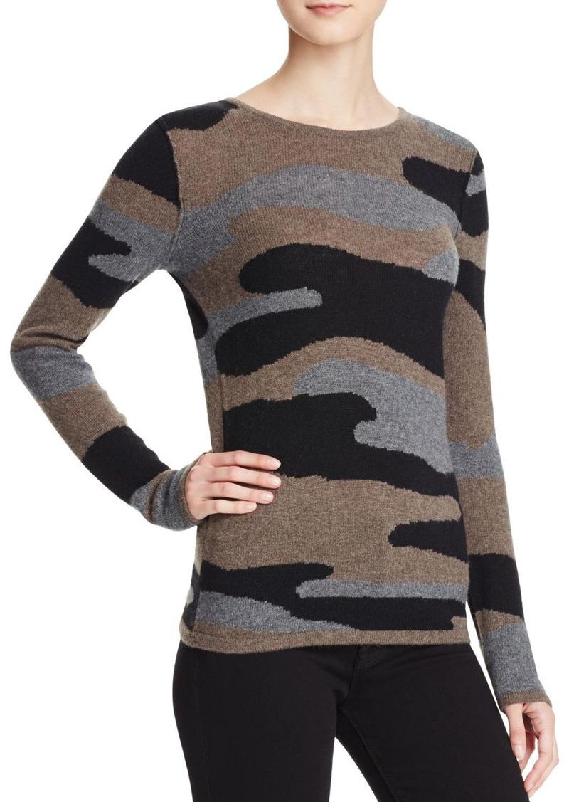 AQUA Cashmere Camo Crewneck Cashmere Sweater